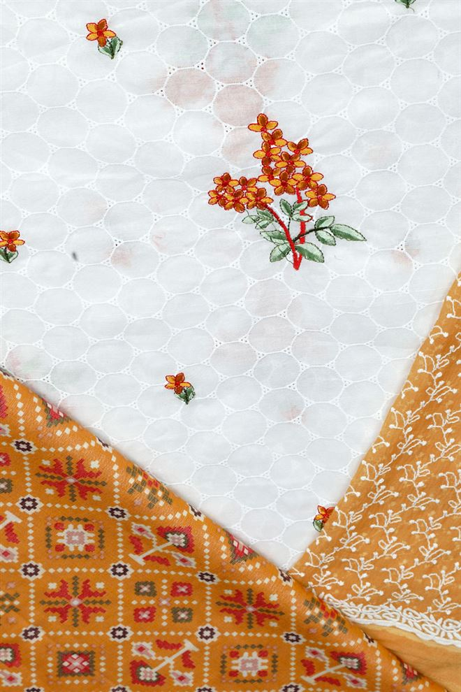 Off White And Mustard Unstitched Cotton Suit Dupatta