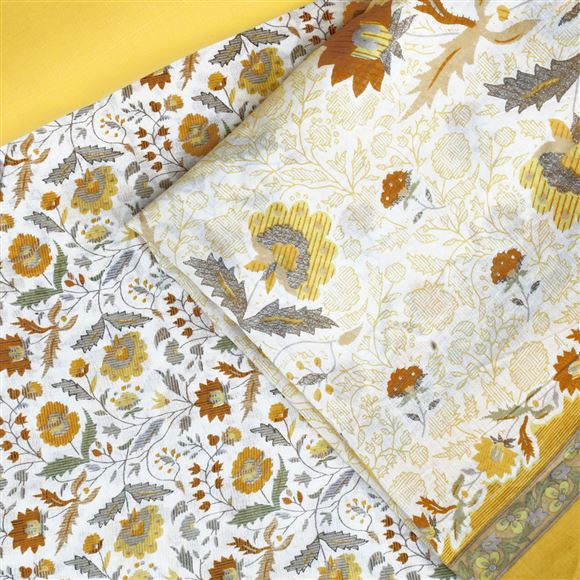 Faserz Off White And Yellow Colored Cotton Suit Dupatta
