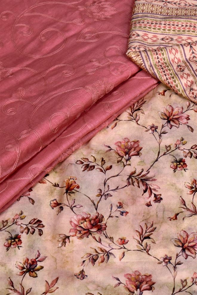 Faserz Pink Color Unstitched Digital Printed Cotton Suit Dupatta