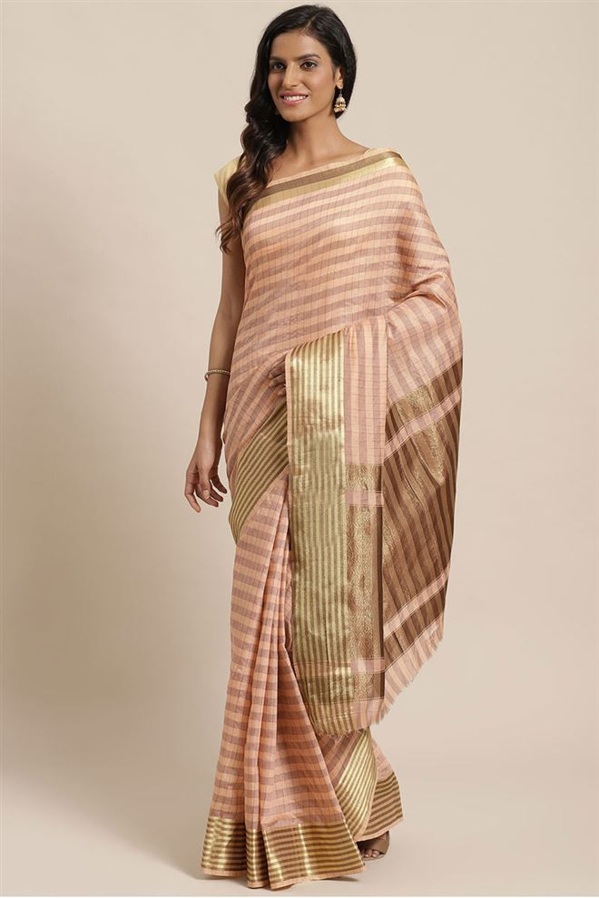 Faserz Peach Color Checked Chanderi Silk Saree
