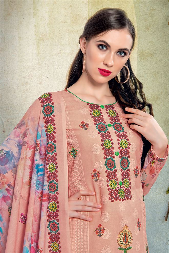 Peach Color Cotton Fabric Fancy Printed And Embroidery Work Designer Salwar Kameez