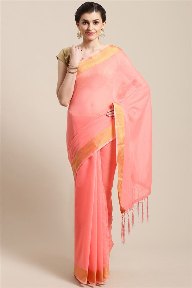 Faserz Peach Color Linen Cotton Fabric Function Wear Stylish Saree