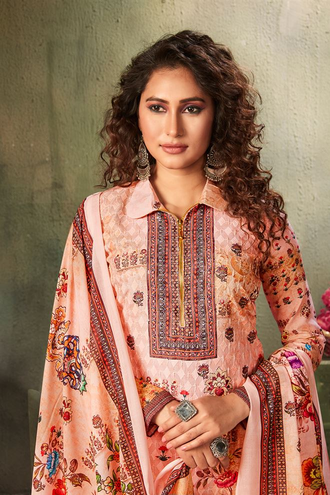 Peach Color Printed Cotton Fabric Casual Salwar Kameez