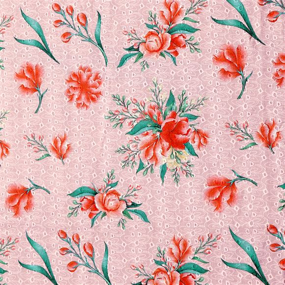 Faserz Peach coloured embroidered cotton digital print fabric