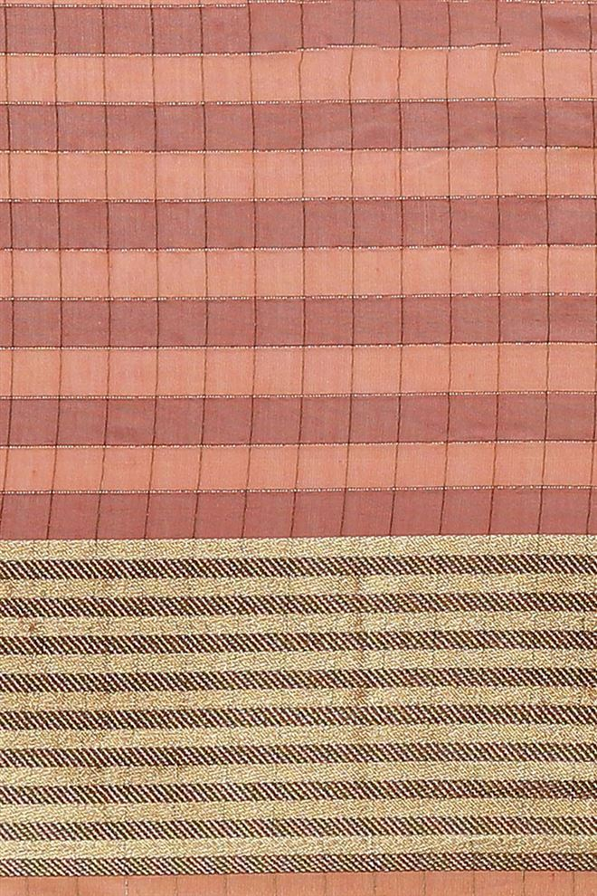 Faserz Pink Color Checked Chanderi Silk Saree