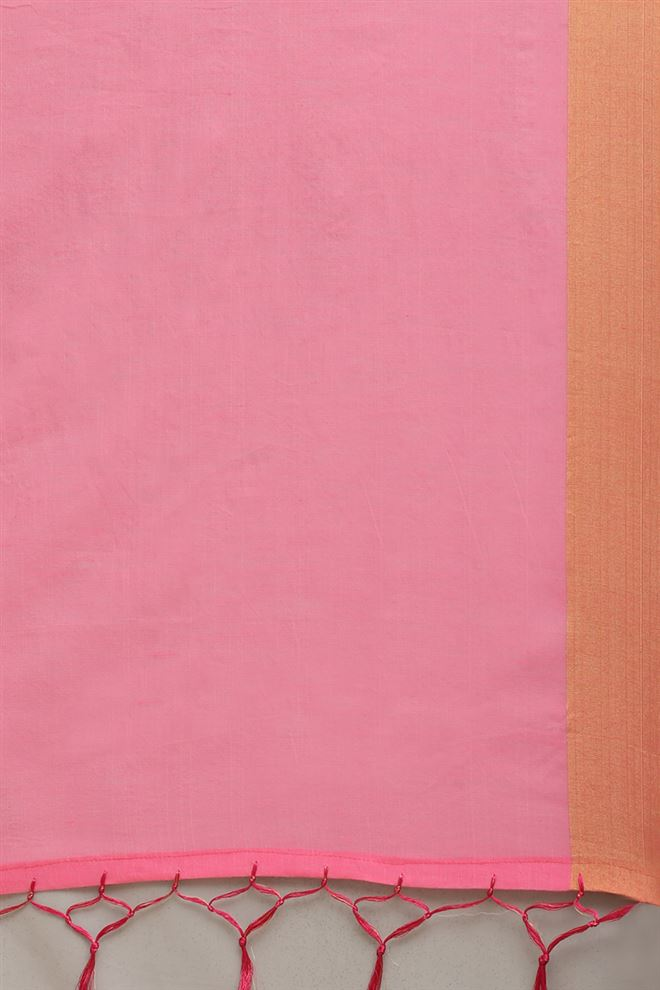 Faserz Pink Color Linen Cotton Fabric Function Wear Stylish Saree