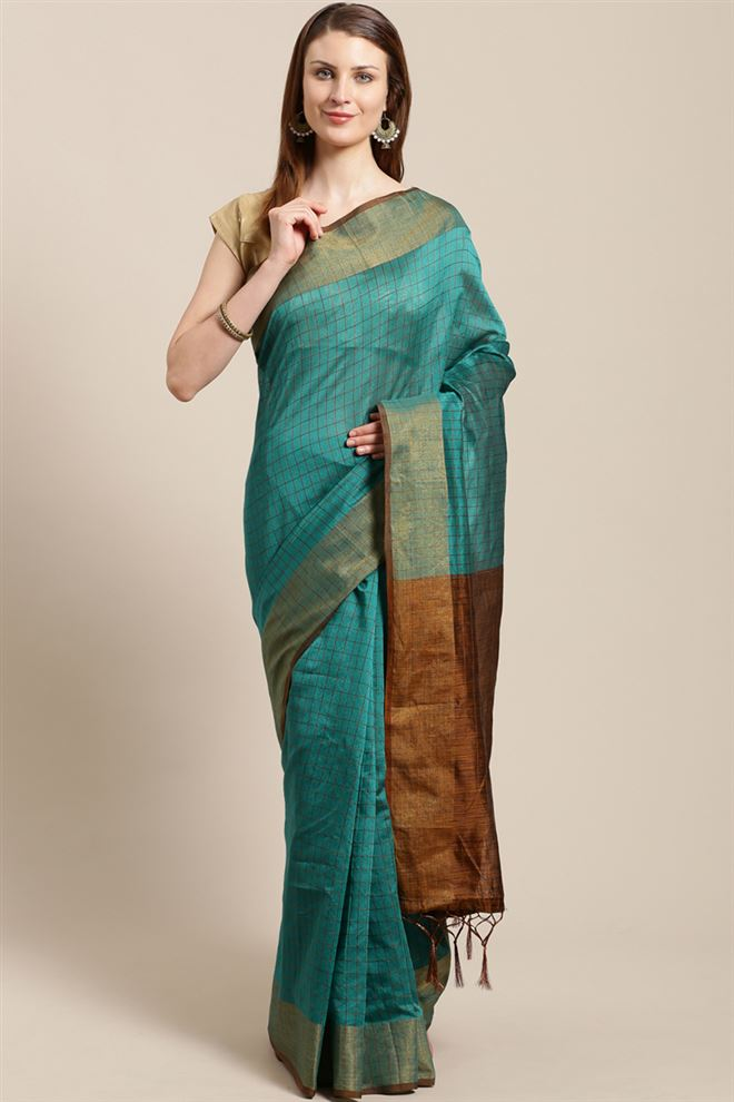 Faserz Rama Color Linen Cotton Fabric Function Wear Designer Saree