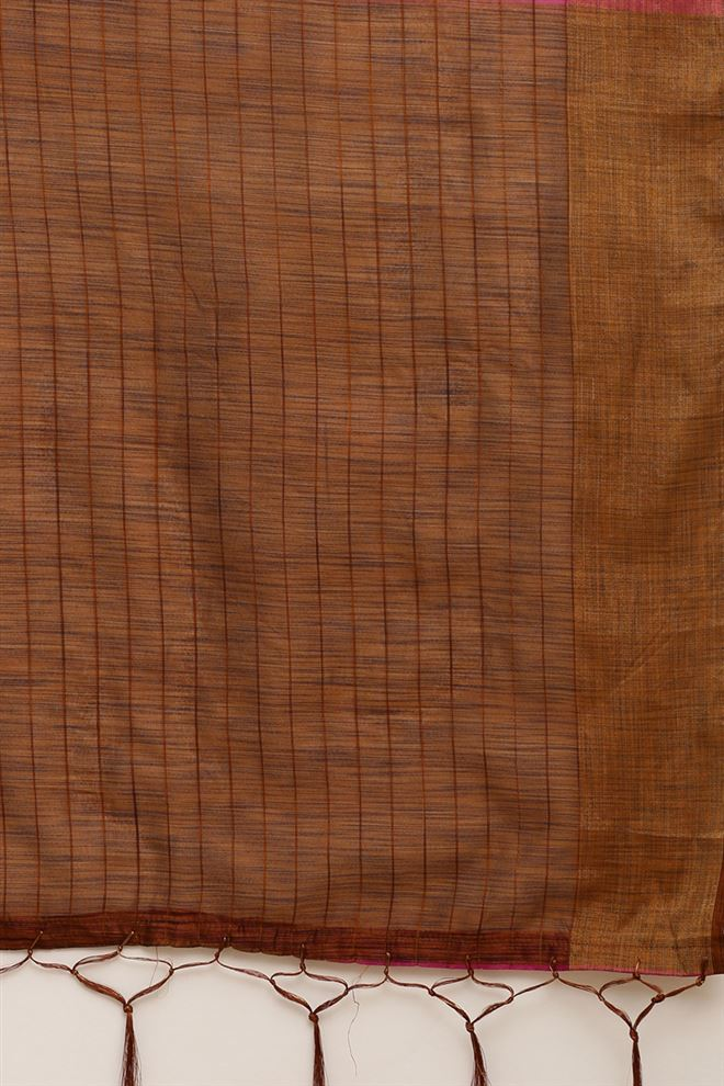 Rani Color Function Wear Linen Cotton Fabric Saree