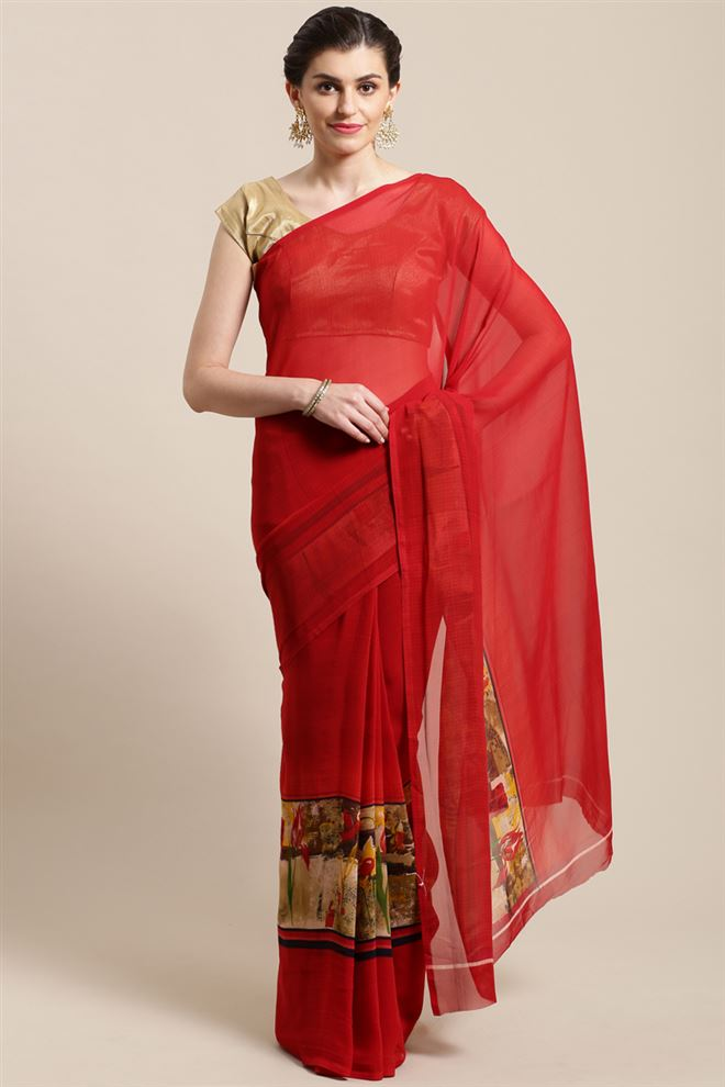 Red Color Georgette Printed Saree With Printed Blouse Piece