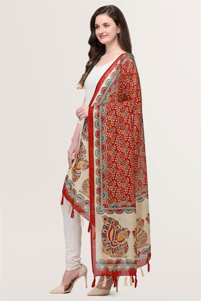 Faserz Red Kalamkari Digital Print Chanderi Silk Dupatta