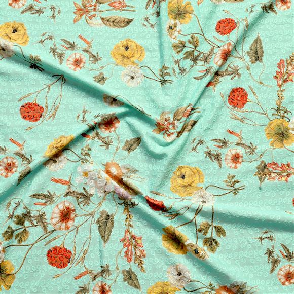 Faserz Sea-Green embroidered cotton digital print fabric
