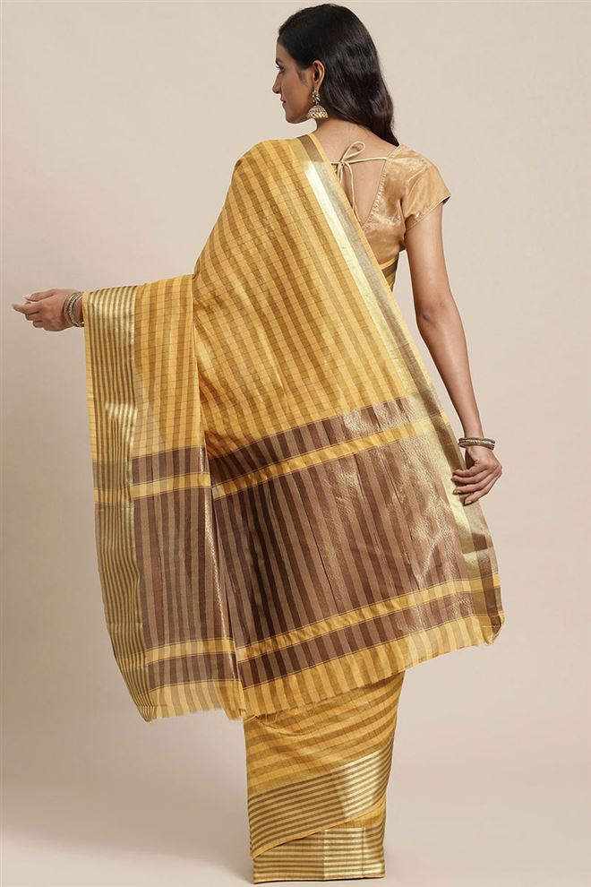 Faserz Yellow Color Checked Chanderi Silk Saree