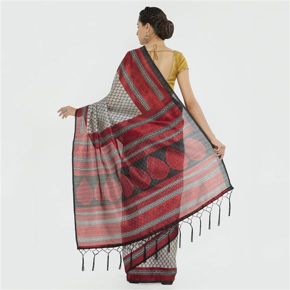 Festive Wear Grey Color Designer Printed Bhagalpuri Silk Saree