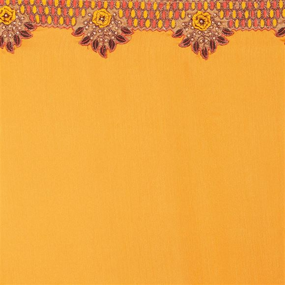 Festive Wear Orange Color Designer Georgette Embroidered Saree