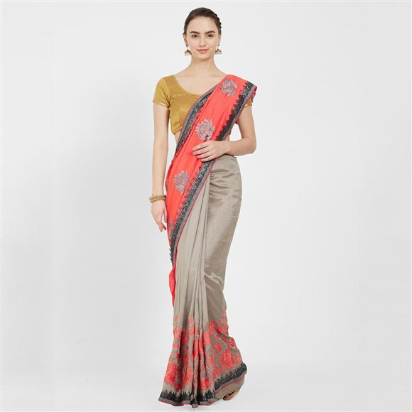 Festive Wear Peach Color Designer Art Silk Embroidered Saree