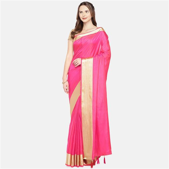 Festive Wear Pink Color Designer Art Silk Weaving Work Saree