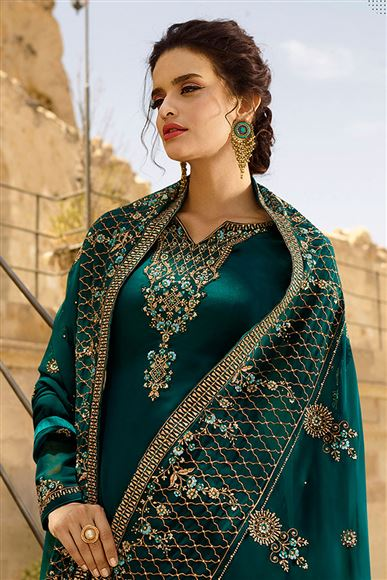 Festive Wear Straight Cut Salwar Suit In Satin Georgette Fabric Teal Color