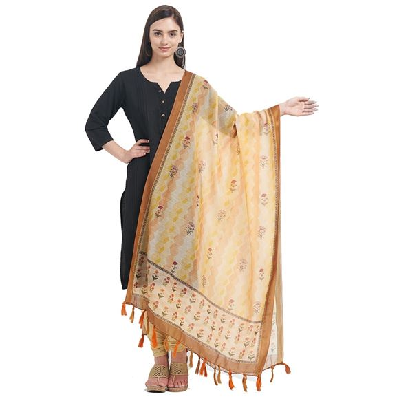Floral Printed Work On Yellow Color Designer Dupatta In Chanderi