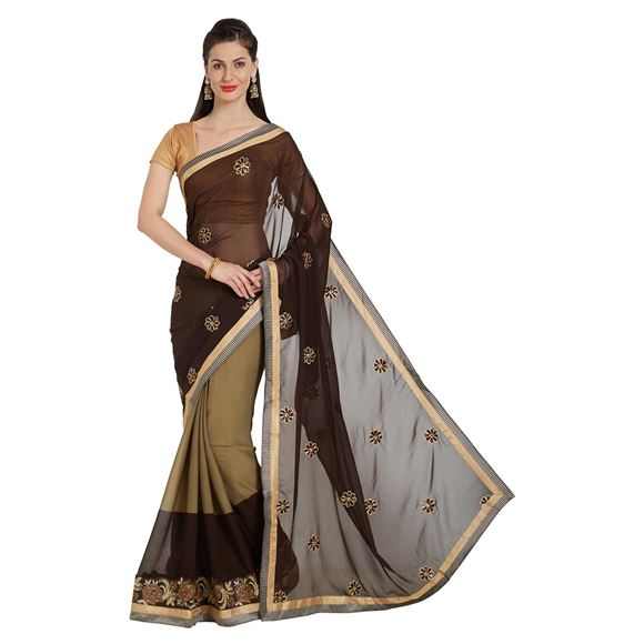 Function Wear Brown Patch And Border Work On Saree In Georgette Fabric With Alluring Blouse