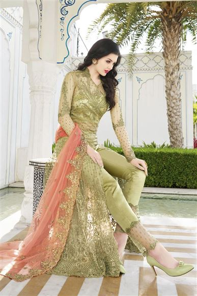 Function Wear Net Designer Embroidered Floor Length Anarkali Dress In Green Color