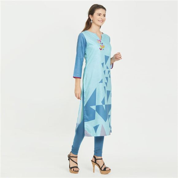 Geometric Print Designs Office Wear Prime Rayon Light Blue Color Kurti