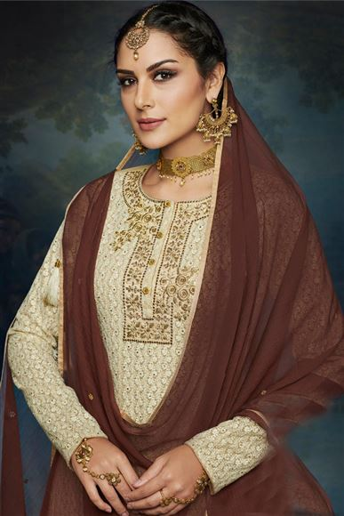 Georgette Beige Color Festive Wear Designer Palazzo Suit With Embroidery Work