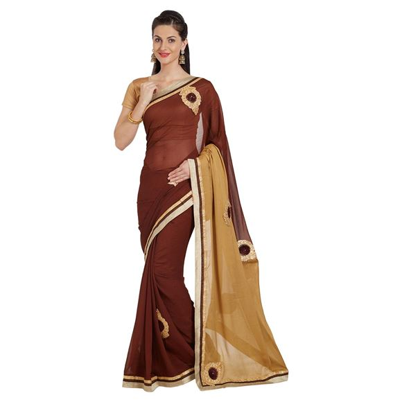 Georgette Brown Designer Saree With Patch And Border Work And Party Wear Blouse