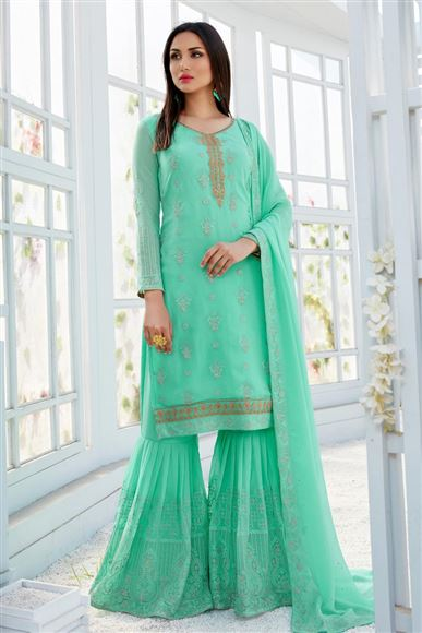Georgette Embroidery Work Party Wear Light Teal Sharara Palazzo Salwar Suit