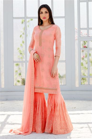 Georgette Peach Designer Embroidery Work Festive Wear Sharara Palazo Salwar Kameez