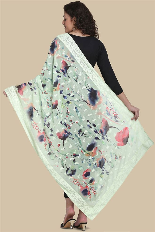Light Pink Color Cotton Fabric Embroidery And Printed Fancy Dupatta