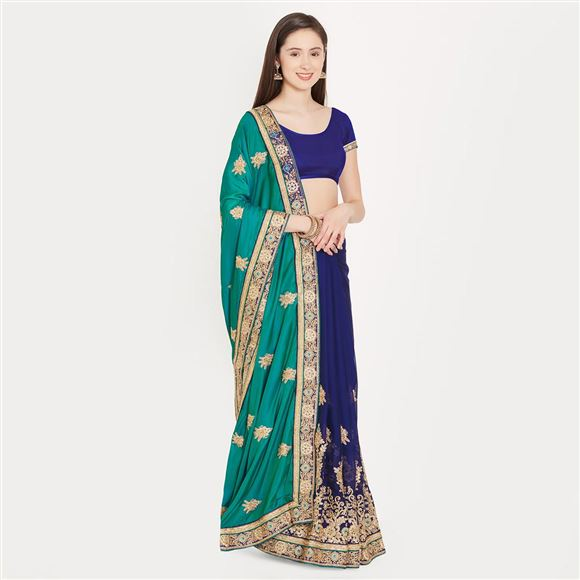 Glamorous Green And Blue Color Crepe Saree With Border Work For Ethnic Look