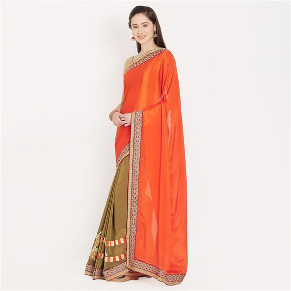 Glamorous Orange And Brown Color Crepe Saree With Border Work For Ethnic Look