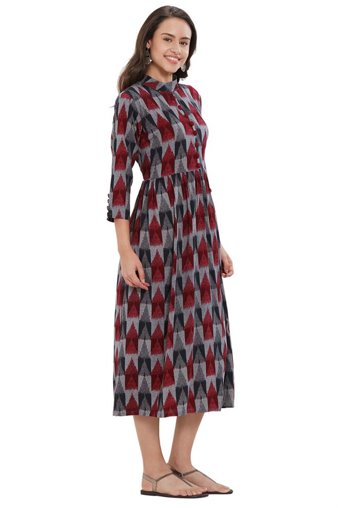 Graceful Grey And Maroon Color Rayon kurtis with Ikkat Print for Casual Party Wear