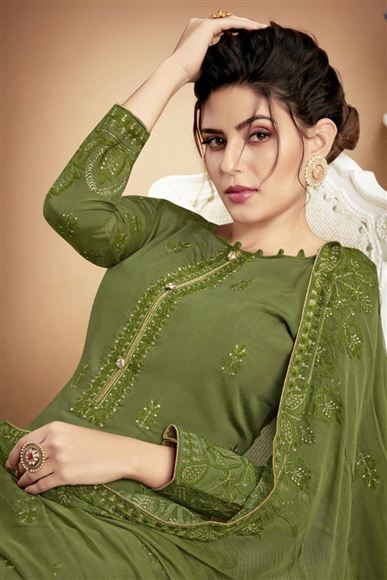 Green Embroidered Casual Style Dress In Fancy Fabric