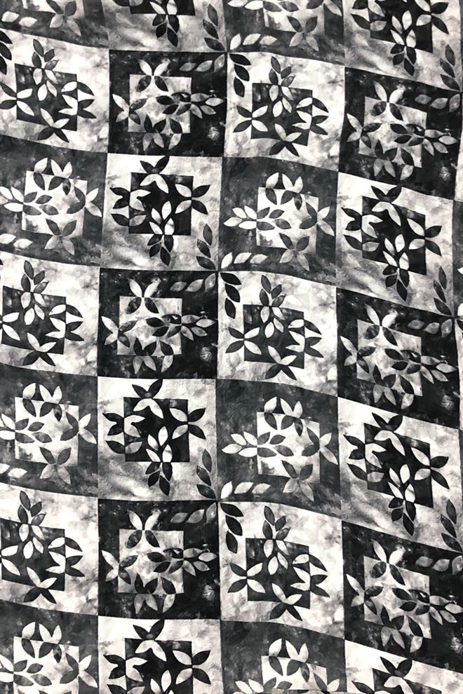 Grey And Black Geometric Floral Digital Print Georgette Fabric