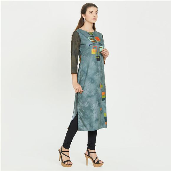 Grey And Mustard Color Abstract Print Party Wear Kurti in Prime Rayon Fabric