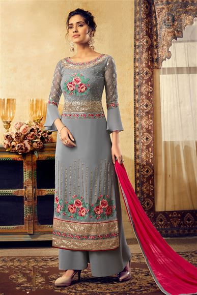 Grey Color Georgette Fabric Function Wear Palazzo Salwar Kameez With Embroidery Designs