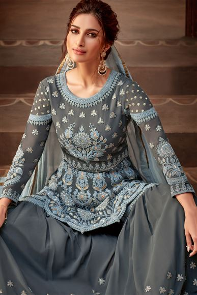Grey Color Viscose And Georgette Fabric Function Wear Palazzo Salwar Kameez With Embroidery Designs