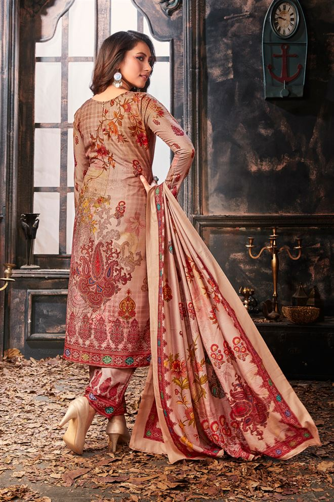 Peach Color Cotton Fabric Function Wear Designer Printed Salwar Kameez
