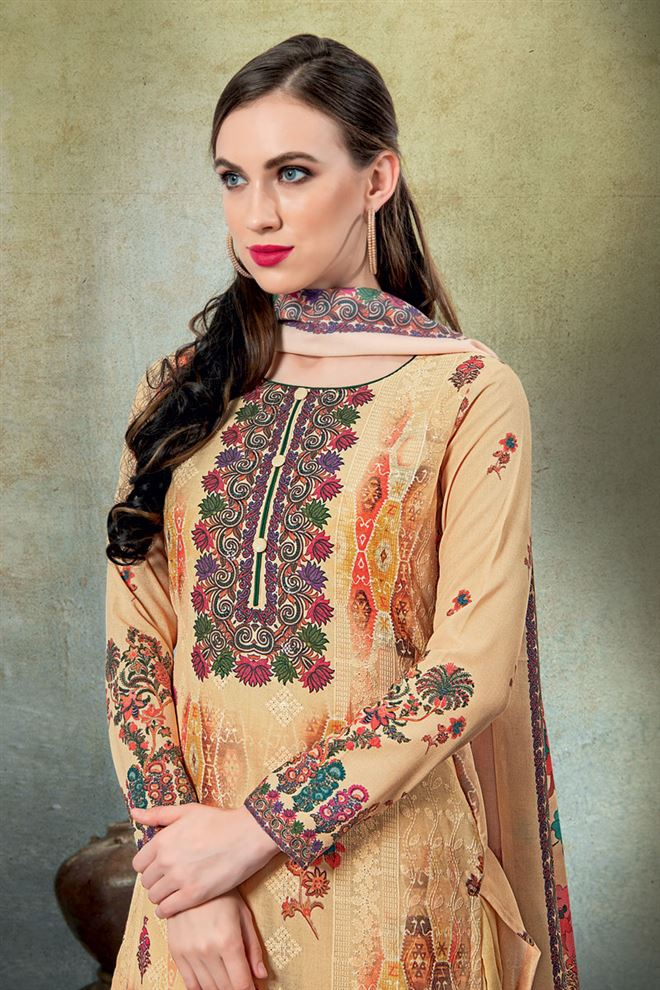 Cream Color Cotton Fabric Fancy Printed And Embroidery Work Designer Salwar Kameez