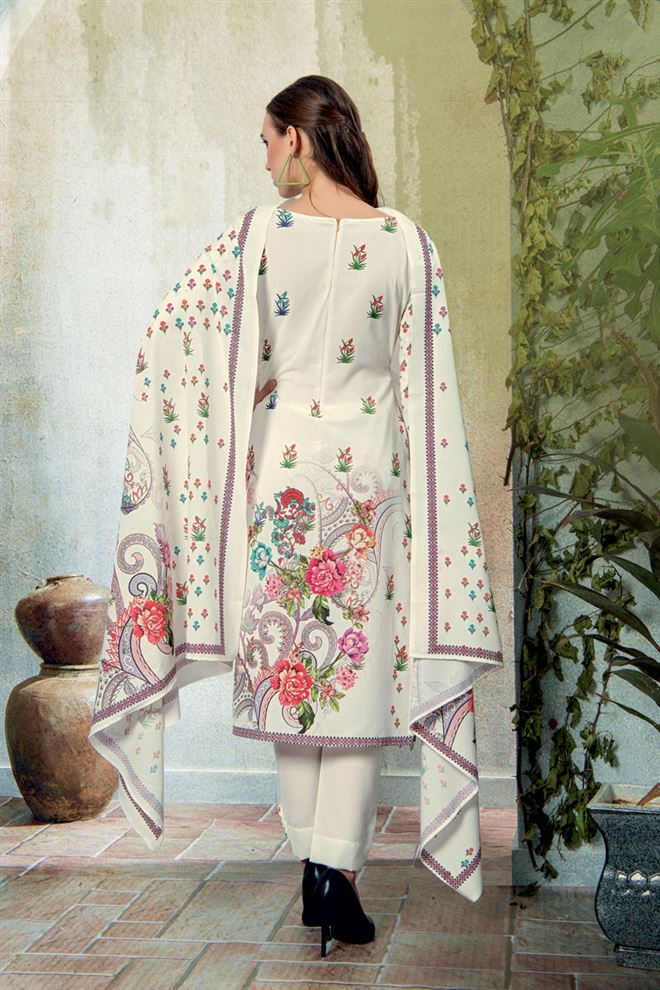 White Color Cotton Fabric Fancy Printed And Embroidery Work Designer Salwar Kameez