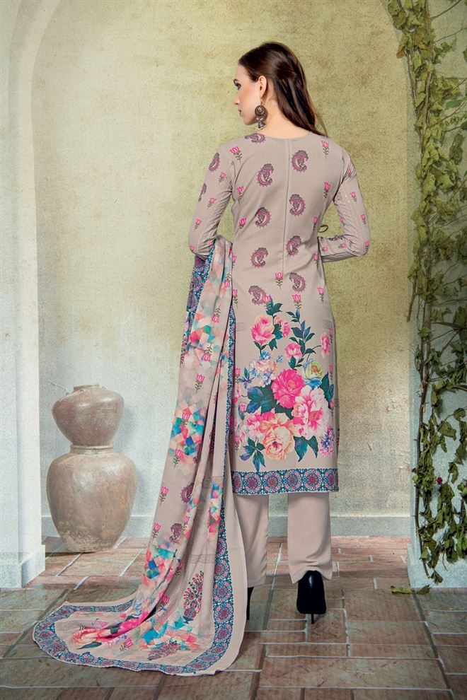Dark Beige Color Cotton Fabric Fancy Printed And Embroidery Work Designer Salwar Kameez