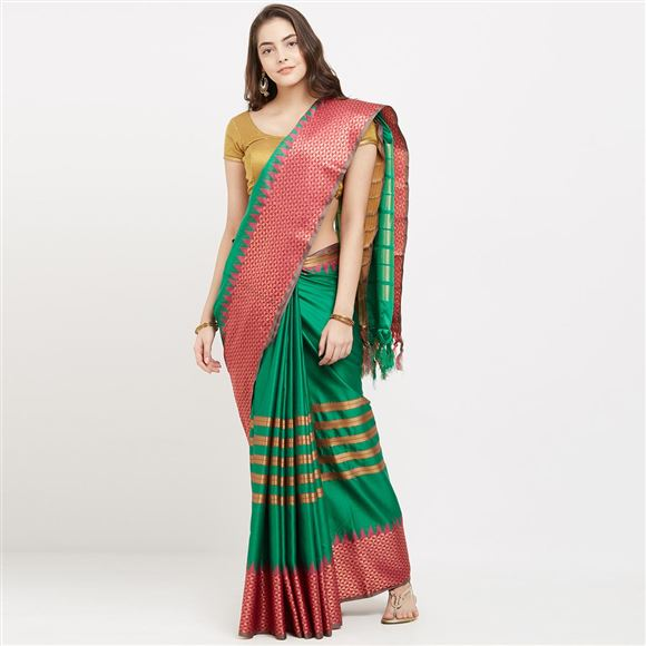 Latest Weaving Work Designs On Cotton Silk Function Wear Sari In Green Color