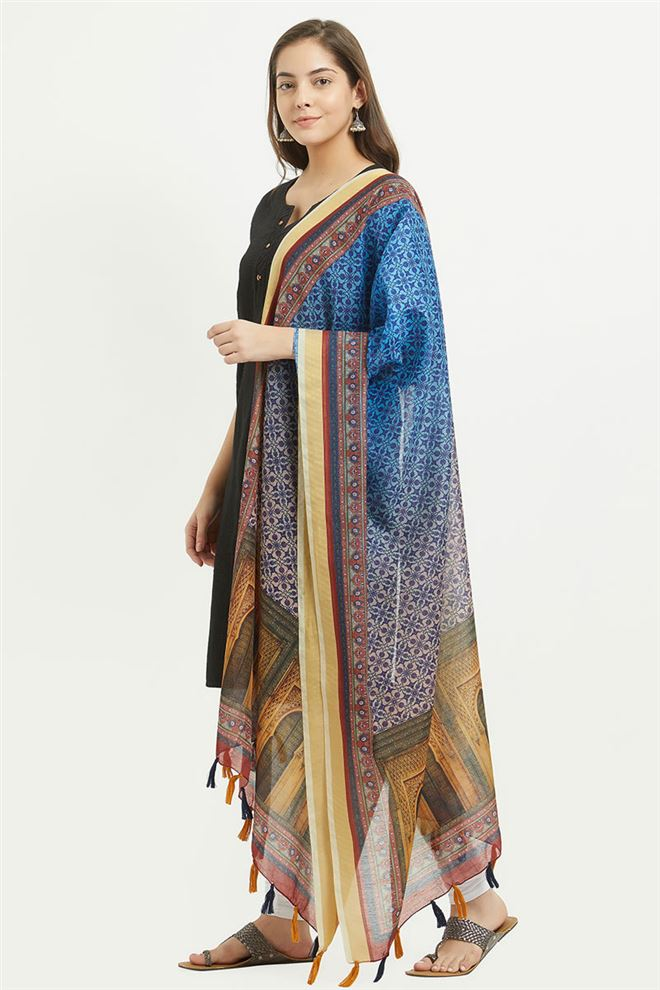Lovely Digital Printed Chanderi Silk Dupatta - GN-RSM-08