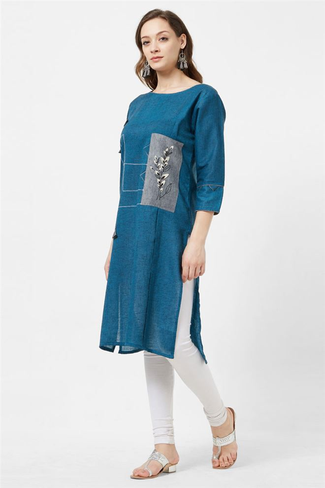 Lovely Teal Color Designer Cotton Long Length Kurti