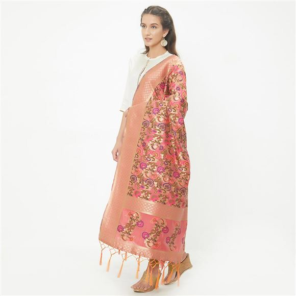 Lovely Weaving Work On Pink Banarasi Jacquard Dupatta For Traditional Look
