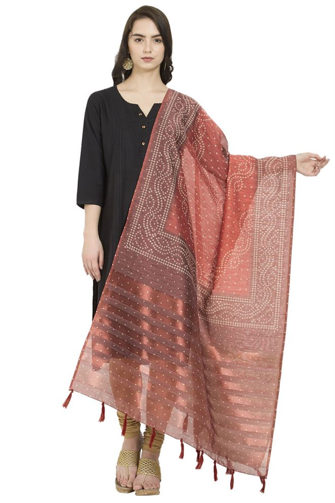 Resplendent Red And Maroon Color Cotton Silk Digital Bhandej Printed Dupatta