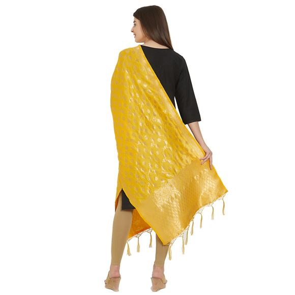 Mesmeric Golden Color Woven Design Banarsi Silk Party Wear Dupatta