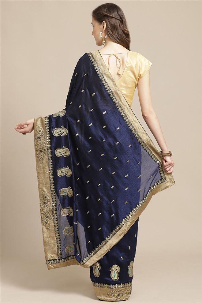 Navy Blue Color Art Silk Fabric Festive Wear Saree With Embroidery Work