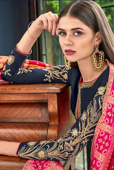 Navy Blue Color Art Silk Fabric Function Wear Palazzo Suit With Embroidery Work